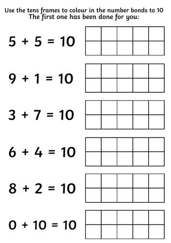 Year 1 Number Bonds to 10 Using Tens Frames