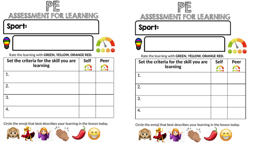 Assessment for learning of a Skill in PE: Peer and Self