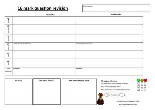 16 mark research methods activity sheet.