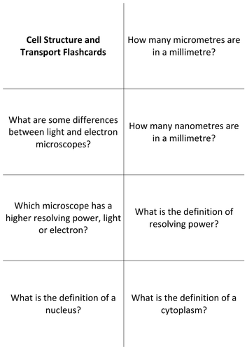 GCSE Biology Revision Flashcards: Cell Structure and Transport
