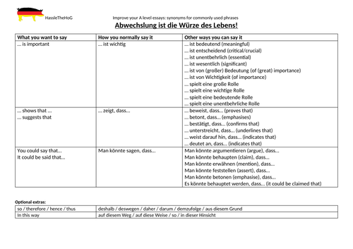 A Level German: improve essays using synonyms