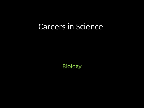 Careers in Science Slides for Contextual Learning