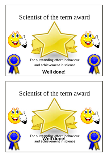 Blank Reward Certificate- Science