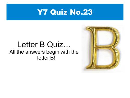 Letter 'B' Quiz