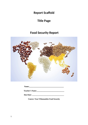 Food Security Report Scaffold
