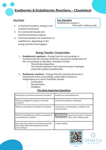 Exothermic & Endothermic Worksheet & Cheatsheet