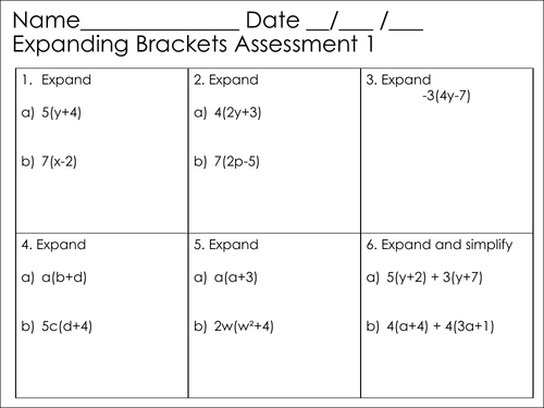Assessment, DIRT and Extension Activity -  Expanding Single Brackets