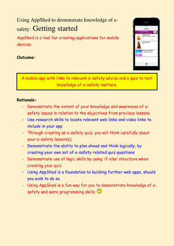 KS3 Year 7/8 E-Safety - demonstrating knowledge by creating a mobile phone app