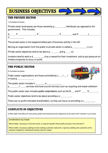 OCR Business Studies 9-1 GCSE Public/Private businesses, Stakeholders, Survival