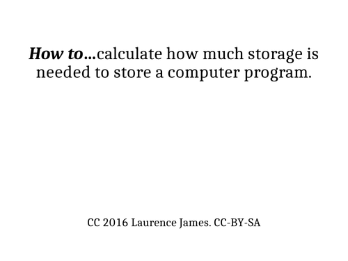 Instruction sets: Calculating storage requirements presentation