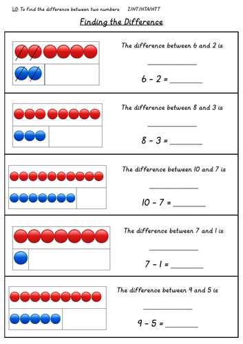 Year 1 Finding the Difference Differentiated Worksheets