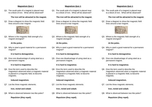 GCSE Magnetism Quick Quizzes