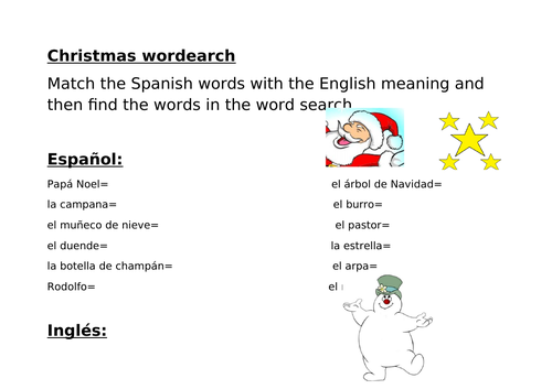 Christmas Wordsearch - Spanish
