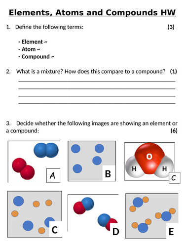 KS3 ~ Year 7  ~ Elements, Atoms & Compounds Homework