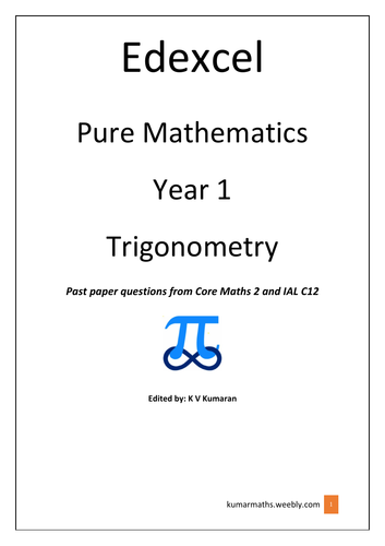 Peaeson Edexcel GCE Maths Trigonometry Year 01 Past paper Questions from C2 and IAL C12