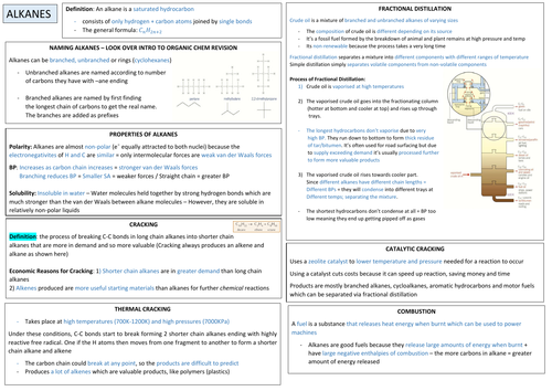 AQA A-LEVEL CHEM - Alkanes Revision A4