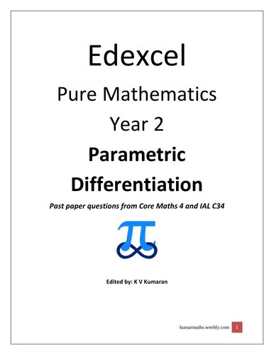 Pearson Edexcel Mathematics year 2 Parametric Differentiation Past Paper Question from C4 and IAL C3