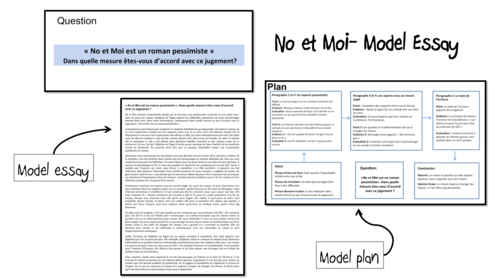 No et Moi- Model Essay and Plan- Roman pessimiste- A Level French