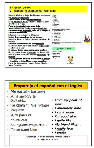 GCSE AQA Spanish Revision quickies - Theme 3 - Life at school/college, post 16 education, jobs