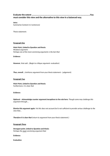 Edexcel A Level Politics Essay Plan 30 mark essays Component 1 and 2