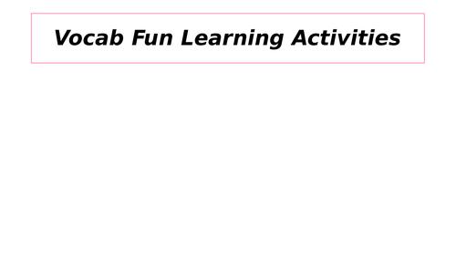 Vocabulary games templates