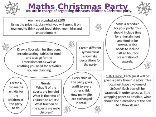 Maths Christmas Party Teaching Resources