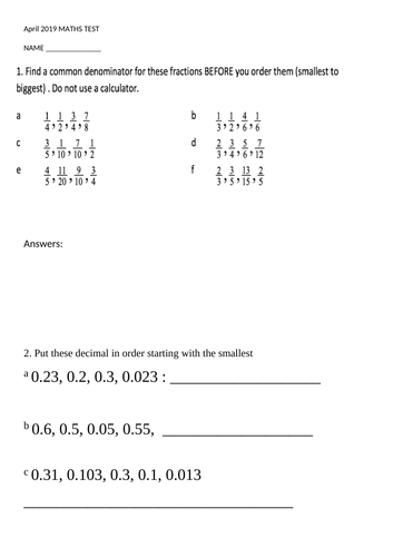 Year 4 fractions, decimals and perimeter term test