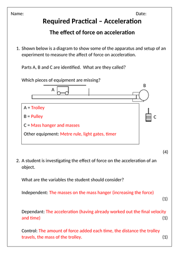 AQA Physics Acceleration Required Practical Worksheets