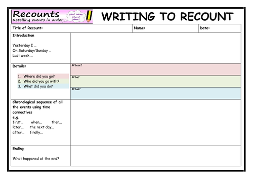 Writing to Recount - Writing Template