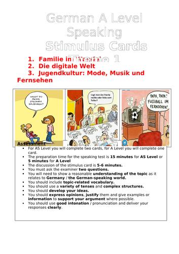 KS5 German AQA Speaking Booklet Theme1