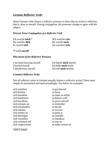 German Reflexive Verbs Handout + Worksheet: Reflexive Verben