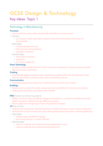 GCSE Design & Technology Theory Key Ideas