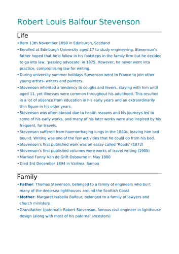 GCSE English Lit- Jekyll & Hyde Context (Robert Stevenson's Life)