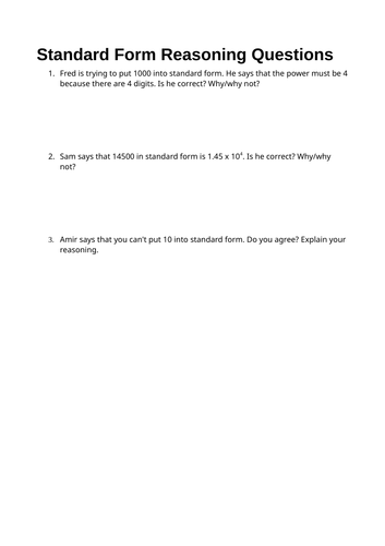 Year 9 Reasoning: Standard form