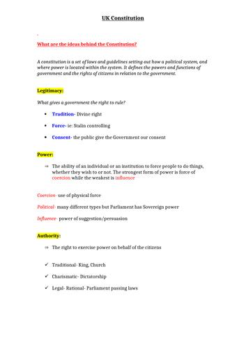 A LEVEL POLITICS- PAPER 2 BUNDLE