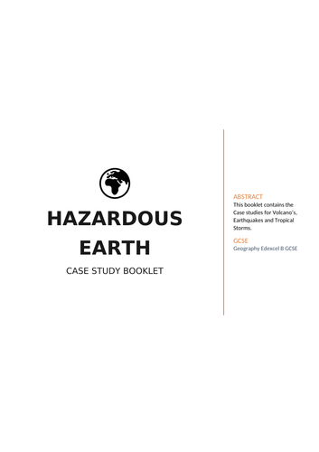 Geography Hazardous Earth Case Study Booklet