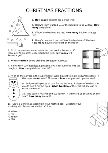 Christmas Fractions of Amounts Worksheet  LKS2