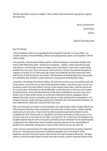 AQA GCSE English Language Paper 2 Q5 exemplar response - gender inequality letter