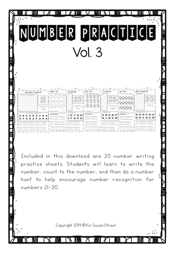 Number Bundle Practice 21-30