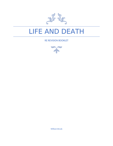 Life and Death booklet, WJEC B GCSE RS