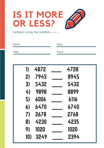 Comparing numbers  (Differentiated worksheet)