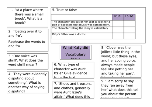What Katy did chapter 1 reading comprehension questions