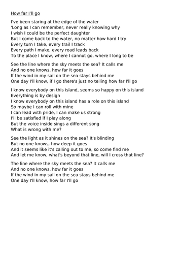 SATS style questions based upon the song 'How far I'll go'