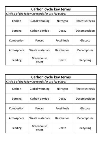 Carbon cycle Bingo cards
