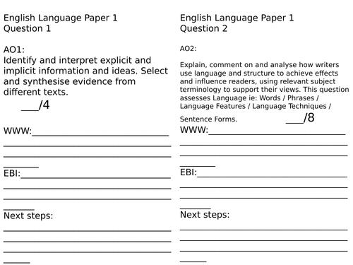 AQA GCSE English Language and Literature Assessment Record Sheets