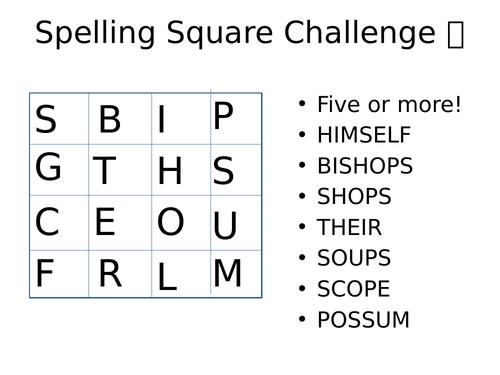 Spelling Square Challenge
