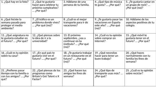 Spanish starter activities on questions