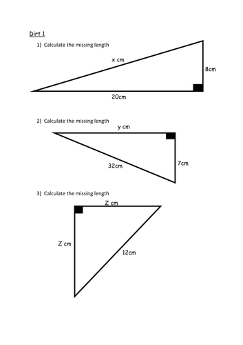 Differentiated Pythagoras' theorem Questions