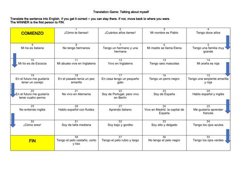 Spanish Basics Translation Game & Practice with answers (KS3)