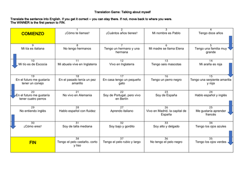 Spanish KS3 Basics Translation Game & Practice (age, name, pets, descriptions)